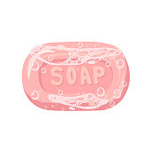 Bar of soap with foam isolated on white. Vector illustration.
