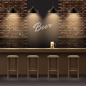 Vector bar, pub interior with brick walls, wooden counter, chairs, shelves, alcohol, mug of beer and lamps