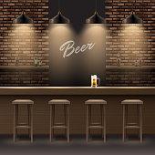 Vector bar, pub interior with brick walls, wooden counter, chairs, shelves, alcohol, mug of beer and lamps