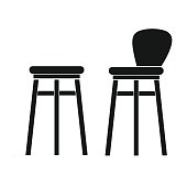Bar stool icon in black design isolated on white background. Pub symbol stock vector illustration.