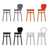 Bar stool icon in cartoon style isolated on white background. Pub symbol stock vector illustration.