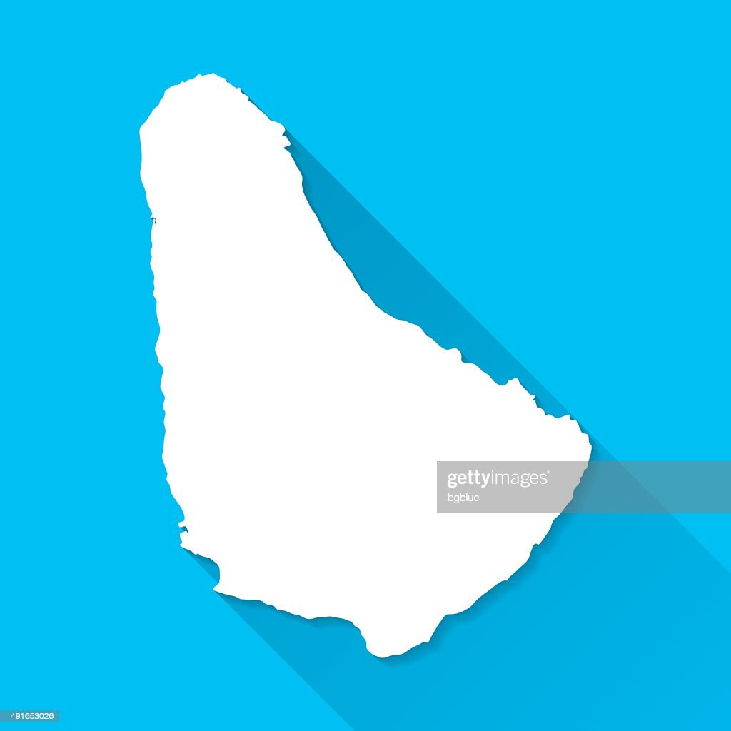 Barbados Map On Blue Background Long Shadow Flat Design Vector Art - Barbados map