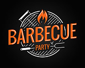 Barbecue grill logo on black background 8 eps