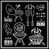 Barbecue grill vector illustration on black background