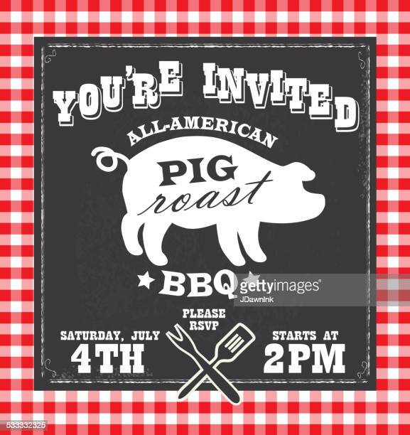 BBQ barbecue invitation design template with pig silhouette