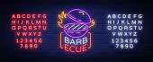 Barbecue logo vector. Neon sign, symbol, bright advertising night barbecue, grill, roast meat, grill bar, restaurant. Bright neon banner, luminous billboard for your projects. Editing text neon sign.