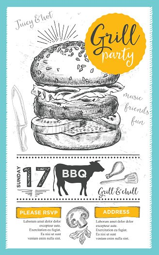 barbecue party invitation bbq template menu design food flyer vector