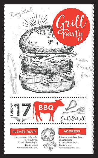 barbecue party invitation bbq template menu design food flyer vector