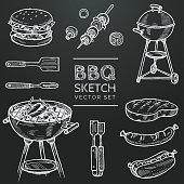 Barbecue vector chalk sketch set. Hand drawn grill, hamburger, skewer, hot dog, steak, sausage. Set for grilling doodle illustration. Bbq party hand drawn design elements. Eps 10