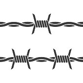 Barbed wire. Vector on white background. Seamless icon on white background