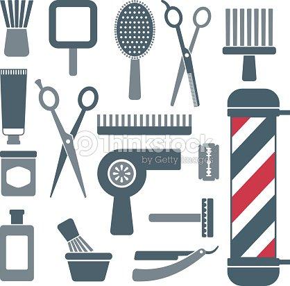 Barbiere e parrucchiere sagoma icone set 4 arte vettoriale for Simbolo barbiere
