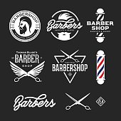 Barber shop badges set. Barbers hand lettering. Design elements collection for logo, labels, emblems. Vector vintage illustration.