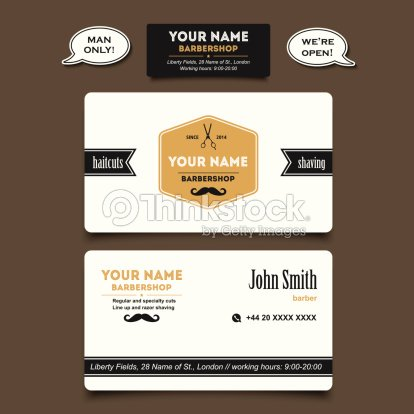 Barber Shop Business Card Design Vector Template Vector Art - Barber business card template