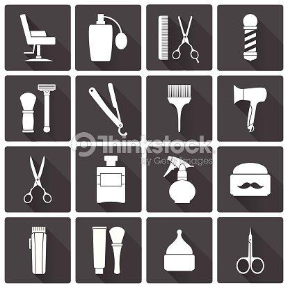 Negozio del barbiere monocromatico set di icone vettoriali for Simbolo barbiere