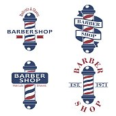 Barber shop poles set. Hairdressing saloon icons isolated on white background. Barbershop sign and symbol. Design elements collection for logo, labels, emblems. Vector Illustration