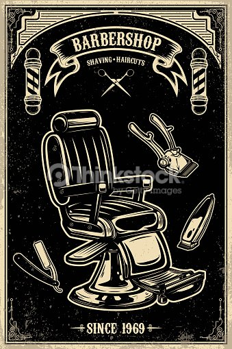 barber shop poster template barber chair and tools on grunge