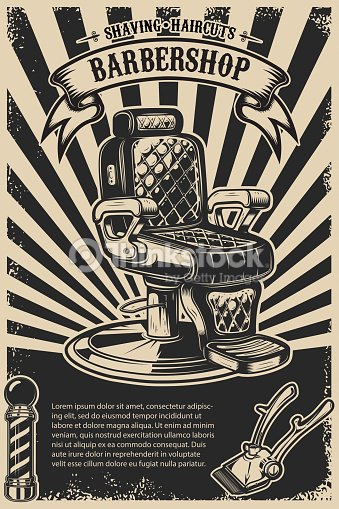 Barber Shop Poster Template Chair And Tools On Grunge Background Vector Art