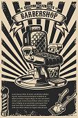 Barber shop poster template. Barber chair and tools on grunge background.  Design element for emblem, sign, poster, card, banner. Vector illustration