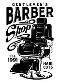 fully editable vector illustration of barbershop chair, image suitable for logo, emblem, insignia, poster, design element or graphic t-shirt