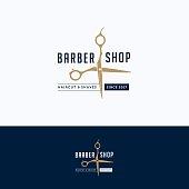 Barbershop vintage logo. Scissors hairdresser beige blue logotype. Barber tool logo template
