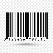 Barcode isolated on transparent background. Vector illustration