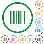 Set of barcode color round outlined flat icons on white background