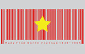 Barcode set the color of North Vietnam 1945 to1955 flag, flag of Democratic Republic of Vietnam yellow star on red. concept of sale or business.