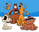 Cartoon Illustration of Dogs Animal Characters Group Barking or Howling