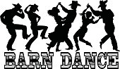 Black vector silhouette of three couples in western style clothes dancing, banner Barn Dance at the bottom, no white objects, EPS 8