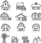 Barn & farm building icon set. Line Style stock vector.