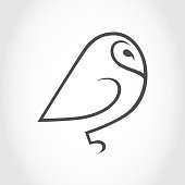 Barn owl symbol, icon outline. Design element