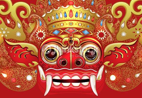 Barong Traditional Ritual Balinese Mask Vector Color Illustration