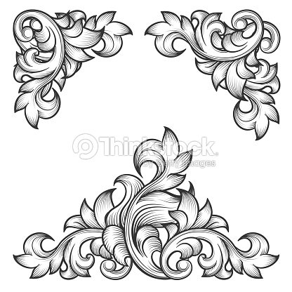 Baroque Leaf Frame Swirl Decorative Design Element Vector Art