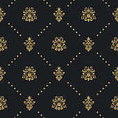 Baroque vintage seamless background with golden ornament. Victorian retro ornament, vector illustration
