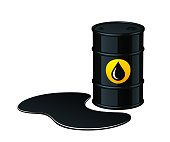 Barrel of oil with spilled oil vector illustration isolated on white background