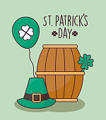 barrel with leprechaun hat and balloon helium of st patrick day vector illustration design