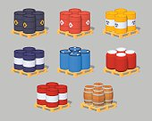 Set of the metal, plastic and wooden barrels on the pallets. 3D lowpoly isometric vector illustration. The set of objects isolated against the grey background