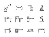 Steel and plastic barriers. Different types of barricades and stoppers. Roadblock, rope barrier, cones and other elements for traffic control. Set of simple black line style vector icons on white.