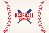 Baseball background. Baseball ball laces, stitches texture with bats. Sport club symbol, poster design. Vector