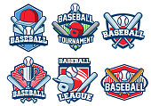 vector of baseball badge design set