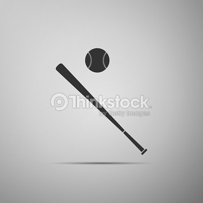 69a68ef9cb5ea Baseball ball and bat icon isolated on grey background. Flat design. Vector  Illustration