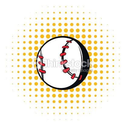 Baseball ball icon in comics style