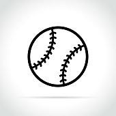 Illustration of baseball ball icon on white background