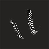 Baseball ball on black background Vector illustration