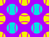 Baseball ball seamless pattern. Bright colors, yellow, blue and purple. Zine culture. Vector illustration
