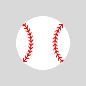 Baseball ball. Vector silhouette. Vector icon isolated. Flat illustration