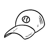 Baseball cap hand drawn sketch doodle image