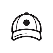 Baseball cap icon. Flat style design. Sportive headwear, uniform. Vector illustration, isolated on background