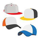 Baseball cap icon set, on white background. Vector illustration