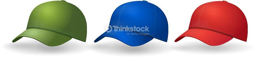 Gorras de béisbol establecer realista sombrero colección   Arte vectorial 690a58c1167